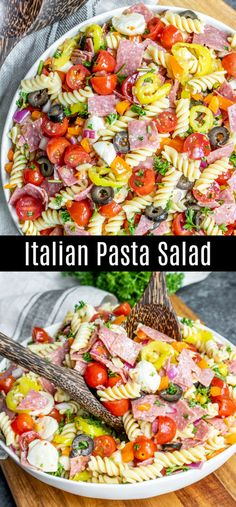 Italian Pasta Salad This easy Italian Pasta Salad is a classic cold pasta salad recipe made with pasta, salami, Italian vegetables, mozzarella cheese, and a zest Italian dressing. It is one of the BEST traditional pasta salad re Easy Potluck Recipes, Potluck Dishes, Food Dishes, Easy Meals, Cooking Recipes, Pasta Recipes For A Crowd, Easy Italian Recipes, Authentic Italian Recipes, Potluck Food