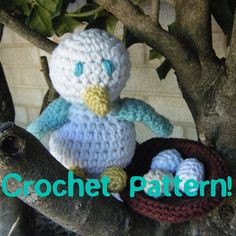 Great little bird,with nest and eggs... Free pattern!