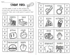 Free Syllable worksheets (hole punching and coloring) from Petersons Pad