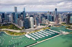 10 símbolos de Chicago: Vista aérea del lago y la ciudad