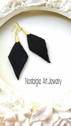 Black Macrame earrings with brass. Macrame Rings, Macrame Bag, Macrame Knots, Micro Macrame, Macrame Jewelry, Jewelry Art, Black Earrings, Women's Earrings, Crochet Earrings Pattern