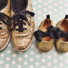 Like mother, like daughter. Matching adult and baby shoes.