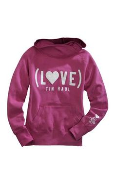 """Tin Haul - Pink Hoodie With Buttons, Screenprinted front """"I Love Tin Haul"""""""