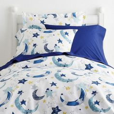 Whimsical sheets & bedding set for kids lets them sleep under the stars without having to leave their bed! Hand-drawn crescent moons and stars.