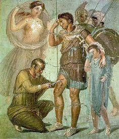 Iapyx removing arrowhead from Aeneas - Museo archeologico nazionale di Napoli - Enea ferito - affrescchi da Pompei