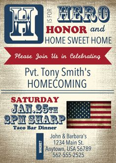 PRINTABLE Patriotic Welcome Home Invitation by stampwab on Etsy