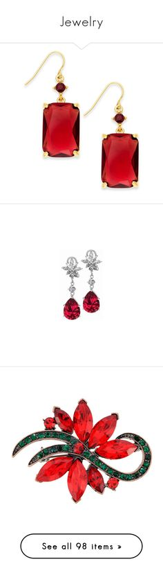 """""""Jewelry"""" by meadresearch ❤ liked on Polyvore featuring jewelry, earrings, gold tone earrings, gold colored jewelry, red jewelry, red jewellery, lauren ralph lauren jewelry, long earrings, dangle earrings and cluster earrings"""