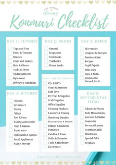 Free printable konmari checklist, free konmari checklist, printable konmari checklist, konmari checklist, tidying up with Organizar Closet, Declutter Your Life, Tips And Tricks, Konmari Method, Tidy Up, The Words, Life Organization, Spring Cleaning, Getting Organized
