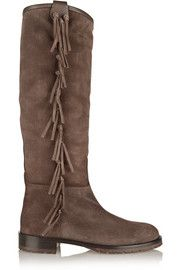 Fringed shearling-lined suede knee boots // Valentino