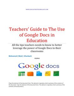 Teachers guide on the use of google docs
