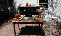 potting table with old sink and chalkboard window. Furniture, Old Sink, Outdoor Sinks, Chalkboard Window, Table, Home Decor, Chalkboard, Potting Table, Sink