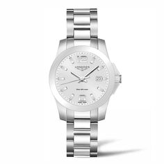 L33784766 Γυναικείο ελβετικό ρολόι LONGINES Conquest quartz με ημερομηνία, ασημί καντράν & μπρασελέ   Γυναικεία ρολόγια LONGINES ΤΣΑΛΔΑΡΗΣ στο Χαλάνδρι #conquest #longines #γυναικείο #ρολόι