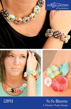Yo-Yo Blooms – IJ893 fabric jewelry sewing pattern from IndygoJunction.com $9.99
