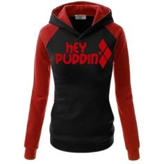 Harley Quinn hoodie ❤ liked on Polyvore featuring tops, hoodies, hoodie top, hooded pullover, sweatshirt hoodies and hooded sweatshirt