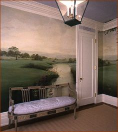 Love Anne's simplicity and serenity to change a traffic zone into contemplative retreat. *Anne Harris wall mural