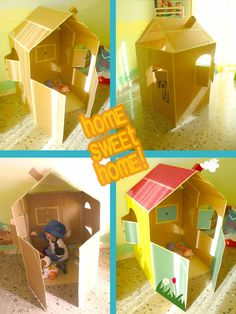 Discover thousands of images about How fun is this! DIY Cardboard Playhouses - Exposito Exposito Exposito Exposito Woodbury Pehrson Larson of A Beautiful Mess Cardboard Houses For Kids, Cardboard Box Crafts, Cardboard Playhouse, Cardboard Crafts, Cardboard Furniture, Projects For Kids, Diy For Kids, Crafts For Kids, Diy Toys