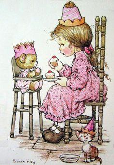 Vintage Sarah Kay Girl Eating Cake Postcard by Sillyshopping Sarah Key, Holly Hobbie, Vintage Cards, Vintage Postcards, Vintage 70s, Illustrations, Cute Illustration, Cute Pictures, Disney Pictures