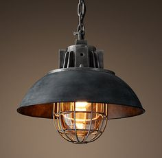 "European Factory Caged Pendant - Weathered Zinc 17"" diameter, 13.25"" high, one 60w globe edison bulb - $509"
