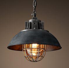"European Factory Caged Pendant - Weathered Zinc 17"" diameter, 13.25"" high, one 60w globe edison bulb - $509"