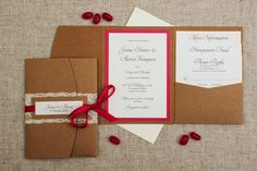pink pocketfold wedding invitation rustic with pink touches wedding invitations