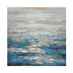 Abstract seascape modern oil painting Blues and greens fading up into cool grade shades Brushstrokes create a horizon effect on the water Brings a calming tone to any space