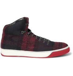 Lanvin Plaid Wool and Leather High Top Sneakers | MR PORTER