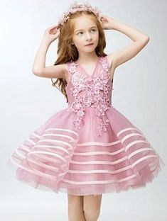 Girly Shop's Light Pink Embroidery Flower Applique Sweetheart Neckline Pageant Prom Princess Junior Bridesmaid Dress With Ribbon Trim Baby Girl Christmas Dresses, Cute Little Girl Dresses, Prom Girl Dresses, Princess Prom Dresses, Junior Bridesmaid Dresses, Ball Dresses, Flower Girl Dresses, Kids Western Wear, Moda Peru