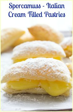 A delicious Italian Pastry Cream filled Puff Pastry Square, Sporcamuss, a…