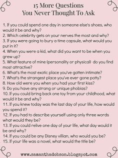 More date night questions you never thought to ask! More date night questions you never thought to ask! Una parte standard delaware are generally evolucióand delaware united nations bebé es chicago estimulación. Esto ayuda some . Questions To Ask People, Date Night Questions, Questions For Friends, Questions To Ask Your Boyfriend, This Or That Questions, Questions To Get To Know Someone, Truth Or Dare Questions, Funny Questions, Icebreaker Questions