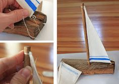Wooden sailboat tutorial. Similar to driftwood boats: http://www.completely-coastal.com/2010/10/wood-craft-ideas.html