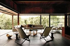 Scissor Chair designed by Ward Bennett and Tuxedo lounge - Geiger
