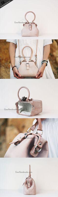 Handmade leather handbag Beige doctor bag shoulder bag