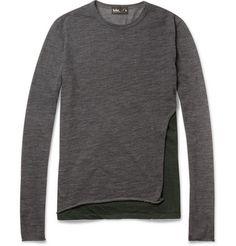 Kolor Panelled Fine Wool-Blend Sweater | MR PORTER