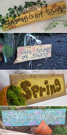 Creative Garden Sign Ideas and Projects • Lots of great Ideas and Tutorials! Including, from 'sow and dipity', these wonderful garden sign ideas.