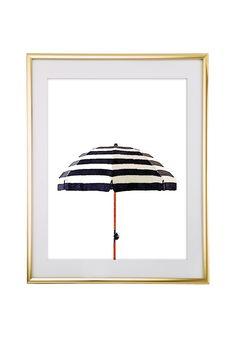 Free Printable Striped Watercolor Umbrella Art from @chicfetti - easy wall art diy