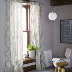 Scroll Medallion Curtain - Feather Gray | west elm