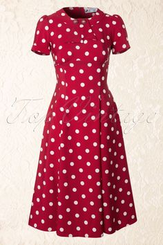 Bunny - 50s Madden Dress in Red And White Polkadot