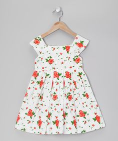 White & Red Rose Dress - Toddler & Girls | Daily deals for moms, babies and kids