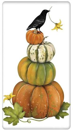 Charm your guests with a fabulous vintage look flour sack towel. For years, flour sack towels were the work horse of everyday kitchen life! Made of quality cotton from Egypt or India, this towel Autumn Painting, Autumn Art, Pumpkin Painting, Fall Halloween, Halloween Crafts, Fall Pictures, Painted Pumpkins, Fall Cards, Copics