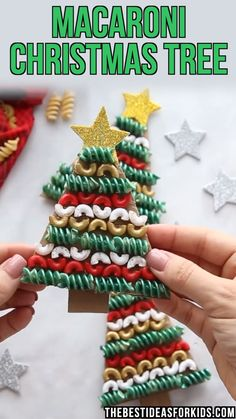 Christmas Tree Pasta and Macaroni Craft MACARONI CHRISTMAS TREE ORNAMENTS – made with macaroni and pasta noodles! Such a clever way to use up some old noodles and turn them into a Christmas ornament. Great for Preschool or Kindergarten classes to create. Easy Christmas Crafts, Christmas Projects, Simple Christmas, Christmas Tree Ornaments, Christmas Christmas, Dough Ornaments, Cardboard Christmas Tree, Christmas Decorations With Kids, Diy Christmas Ornaments For Toddlers