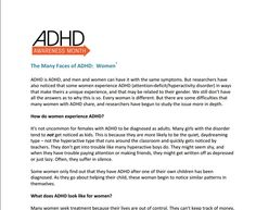 The Many Faces of ADHD: Women