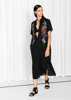 & Other Stories   Embroidery Shirt Dress