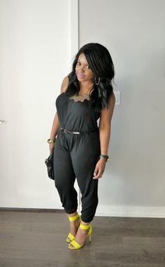 Black jumpsuit + Neon heels