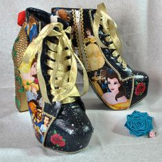 Beauty and the Beast Block Heel Boots by BecciBoosCustomShoes