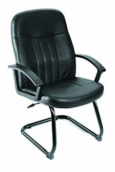 Boss Office Products B8109 Executive Leather Budged Guest Chair In Black  