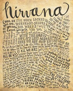 Nirvana Lyrics and Quotes - 8x10 handdrawn and handlettered print on antiqued paper rock music lyrics by mollymattin on Etsy