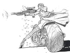 Mercenary Garage: Machine Gun Girl Illustration by Jomaro Kindred Drawing Poses, Drawing Sketches, Art Drawings, Comic Drawing, Character Concept, Character Art, Concept Art, Poster S, Action Poses
