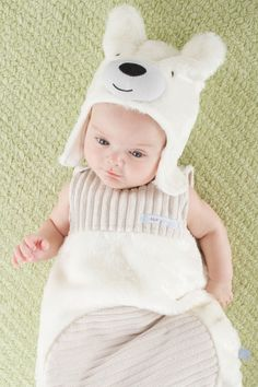 Beary Snuggly Luxe Polar Bear Snuggle Sack & Hat Set//