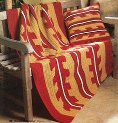 SOUTHWESTERN Desert Flames Afghan & Pillow/Crochet Pattern Instructions