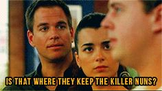 Ziva: If you are done, I suggestwe start with cause of death. Radiation Poisoning. Tony: Drowning. McGee: Killer nun. Tony: Maybe we should try location. Ziva: Uh, some kind of uh, bombing range? Tony: Anchor… age, Alaska? McGee: Convent. Tony: Is that where they keep the killer nuns? McGee:Look, all I'm saying is some of thenuns I knew could get extremely agitated.